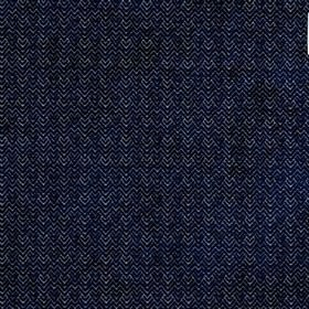 Reno - Royal - Midnight blue and white coloured viscose and polyester blend fabric, with zigzags and chevrons finished with a soft texture