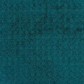 Reno - Teal - Polyester and viscose blend fabric in icy blue, with a soft, textured, teal coloured design of chevrons and zigzags