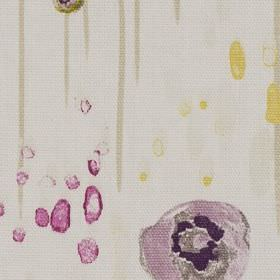 Samoa - Fuchsia - White 100% cotton fabric with a watercolour effect design of droplets, drips and stylised flowers in grey, purple and yellow