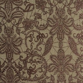 Samsara - Heather - Large leaves and lines woven into polyester and viscose blend fabric in dark purple-brown and light grey-beige colours