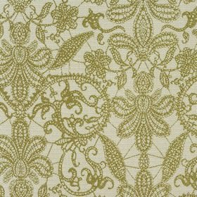 Samsara - Olive - Polyester and viscose blend fabric woven with a large floral design, using white and olive green coloured threads