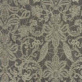 Samsara - Silver - Fabric woven from a blend of polyester and viscose in pearl white and battleship grey, featuring a large floral design