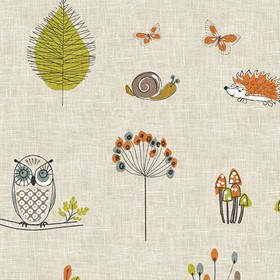 Vintage - Woodland Fox Multi - Foxes, leaves, mushrooms and hedgehogs printed on 100% cotton fabric in light grey, white, grass green and da