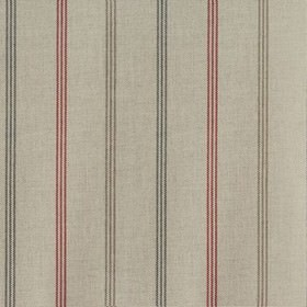 Waterford - Rosso - Fabric made from 100% cotton, featuring a design of three thin, dashed, vertical stripes made in black and light grey