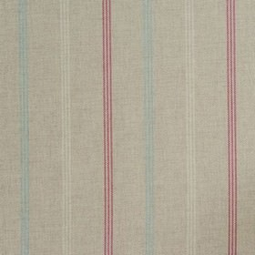 Waterford - Sorbet - Dark pink and light shades of grey and blue making up a thin, dashed, vertical stripe design on 100% cotton fabric