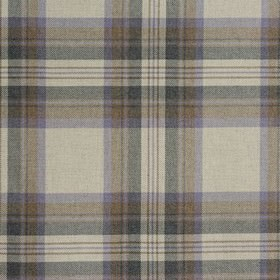 Westport - Heather - Checked fabric made from 100% cotton, woven using threads in warm cream, dark brown, mauve and dark navy blue