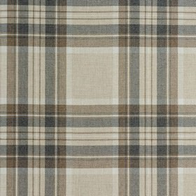 Westport - Natural - Off-white, cream and chocolate brown coloured 100% cotton fabric woven with thin, elegant diagonal lines