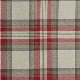 Westport - Rosso - 100% cotton fabric woven with a checked design in scarlet, beige, brown and dark grey colours
