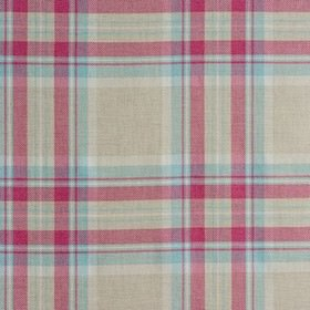 Westport - Sorbet - Light shades of grey, off-white and blue woven with dark pink into a checked design on fabric made from 100% cotton