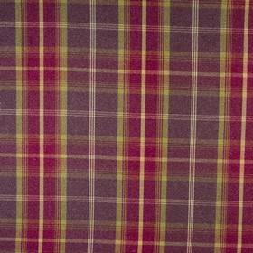 Balmoral - Amethyst - Checked fabric made from polyester and cotton in warm colours such as mulberry, cream, apple green and dark purple-gre