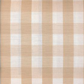 Breeze - Natural - White and warm caramel tones creating a simple checked design on fabric made entirely from cotton
