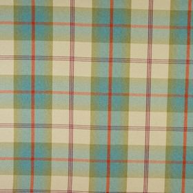 Balmoral - Aqua - Bright orange, aqua blue, dusky green, cream and duck egg blue making up a checked design on polyester and cotton fabric