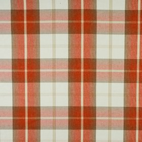 Balmoral - Burnt Orange - Beige and bright, warm shades of red, orange and brown woven into a polyester and cotton fabric with a bold checked