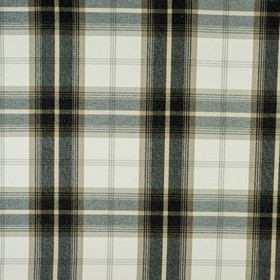 Balmoral - Charcoal - Polyester and cotton blend fabric, made with a bold, sophisticated, versatile, black, beige and white checked design