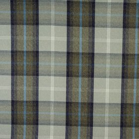 Balmoral - Oxford Blue - Checked polyester and cotton blend fabric woven using threads in pale grey, dark grey, cobalt blue and navy blue co