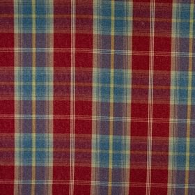 Balmoral - Ruby - Fabric made from checked polyester and cotton, woven using blood red, cobalt blue, pale yellow and light grey threads