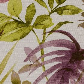 Funchal - Berry - Large apple green and dark purple coloured leaves printed on a white 100% cottton fabric background