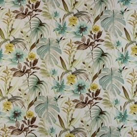 Funchal - Duckegg - White 100% cotton fabric printed with large leaves in dark jade, grey, gold and duck egg blue shades