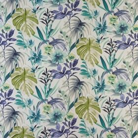 Funchal - Indigo - Various different bright and rich shades of blue and aqua making up a large leaf print on 100% cotton fabric in white