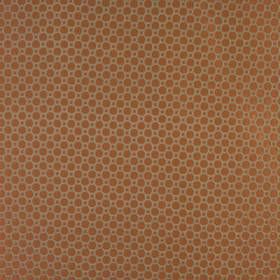 Honeycomb - Burnt Orange - A simple geometric design of terracotta coloured squares and octagons patterning light grey cotton and polyester