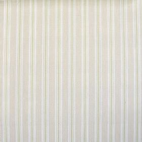 Baystripe - Natural - 100% cotton fabric with a regular striped design in white, ivory and pale green colours
