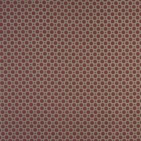Honeycomb - Rosso - Wine and mid-grey coloured squares and octagons making up a simple geometric design on cotton and polyester blend fabric