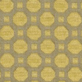 Honeycomb - Ochre - A simple geometric design of squares and octagons on cotton and polyester blend fabric made in gold and mid-grey colours