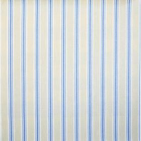 Baystripe - Cornflower - Striped 100% cotton fabric with a regular design featuring bright blue, silver grey and white colours