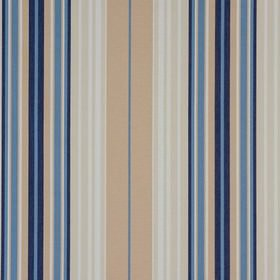 Beachcomber - Cornflower - Cobalt blue, navy blue, light brown, beige and white striped 100% cotton fabric