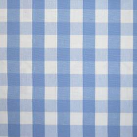 Breeze - Cornflower - Simple cobalt blue and white checked 100% cotton fabric