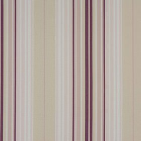 Beachcomber - Aubergine - Fabric made from striped cotton in light grey, white, dark purple and very pale lilac