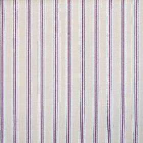 Baystripe - Aubergine - Silver grey, dark purple and white striped fabric made entirely from cotton