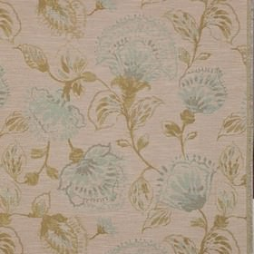 Brigitte - Duckegg - Large, shaded flowers and leaves printed in light brown and icy blue on beige polyester, viscose and linen blend fabric