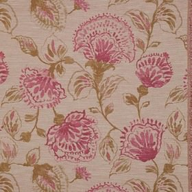 Brigitte - Fuchsia - Polyester, viscose and linen blend fabric in beige, printed with elegant leaves shaded in dark pink and caramel colours