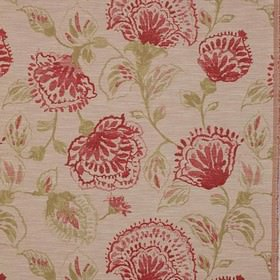 Brigitte - Rouge - Creamy green, rose pink and red coloured floral patterns printed on beige fabric made from polyester, viscose and linen