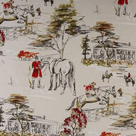 Burghley Novelties - Burghley - Horse print patterned fabric made from 100% cotton, with a black drawing on a plain, very pale grey-white ba