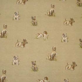Burghley Novelties - Pooch - A pattern of different dog breeds covering fabric made from 100% cotton in white, olive green and shades of gre
