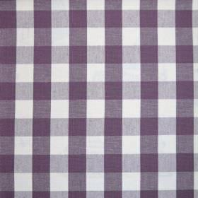Breeze - Aubergine - 100% cotton fabric with a simple checked design in white and a very dark shade of purple