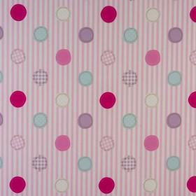 Patch - Pink - Shades of pink, blue, lilac and white making up the dot pattern on white and lilac striped fabric made from 100% cotton