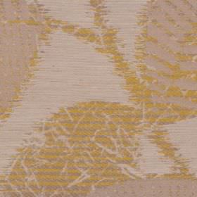 Daniella - Olive - Fabric made from gold, light grey and off-white polyester, cotton and linen, printed with stylish striped leaves