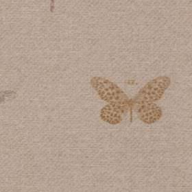 Dragon Fly - Duckegg - A small warm cream coloured butterfly with dotted wings on a cement grey 100% polyester fabric background