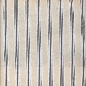 Baystripe - Charcoal - Black, cream and white striped 100% cotton fabric