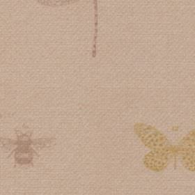 Dragon Fly - Natural - Pale shades of grey, beige and yellow making up a small bee, butterfly and dragonfly design on 100% polyester fabric