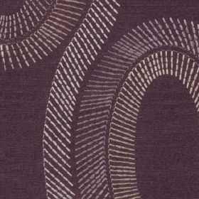 Eliza - Aubergine - Short, dashed white and cream coloured lines making up elegant swirls on dark purple 100% polyester fabric