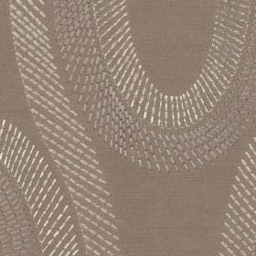 Eliza - Stone - Elegant swirls made up of short, dashed lines on fabric made from 100% polyester in several different shades of grey