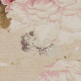 Fenwick - Antique - Soft pink and white floral patterns with some dark grey and green on a light beige 100% cotton fabric background