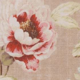 Florence - Antique - Vintage inspired florals printed on 100% polyester fabric inrich red, light pink, white, forest green, cream and beige