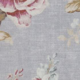 Florence - French Blue - Powder blue 100% polyester fabric behind elegant off-white, light brown, light blue and dark pink coloured florals