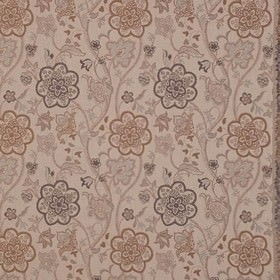 Genevieve - Dove Grey - Pretty, very detailed floral patterns on polyester and cotton blend fabric in light brown, pale grey & chocolate col