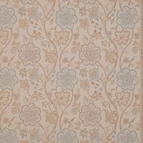 Genevieve - Duckegg - Duck egg blue and latte coloured pretty, detailed floral designs on an off-white polyester and cotton fabric backgroun